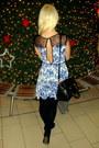 Blue-asos-dress-light-pink-mango-sweater-black-oasap-bag