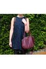 Navy-chicnova-dress-black-h-m-jacket-crimson-h-m-bag