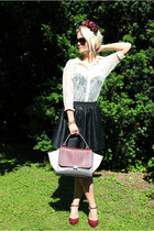 crimson OASAP bag - eggshell H&M shirt - black New Yorker skirt