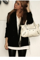 Filippa K blazer - GINA TRICOT t-shirt - Cubus leggings - balenciaga purse