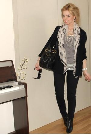 Filippa K blazer - Alexander McQueen scarf - J Brand jeans - calvin klein boots