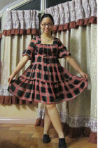 plaid Bayo dress - oxfords SO FAB flats - christmas-y earrings