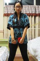 kimono top blouse - princess-y Disney ring - H&M earrings - Uniqlo pants