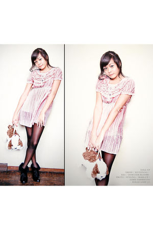 pink Xin Ye Fang dress - black shoes - brown Designer Blooms accessories - black