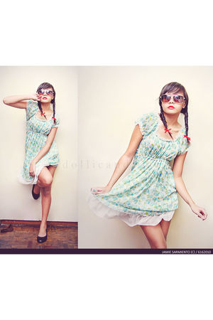 blue dress - black Unlisted shoes - brown Ray Ban accessories