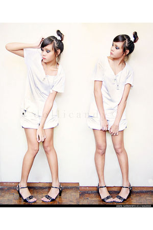 black Unlisted shoes - white Topman top - white tiangge shorts - silver necklace