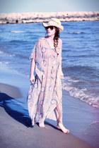 sky blue H&M dress - eggshell H&M hat - eggshell Hipanema bag