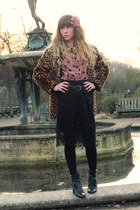 black Robert Clergerie boots - brown vintage coat - light pink asos shirt