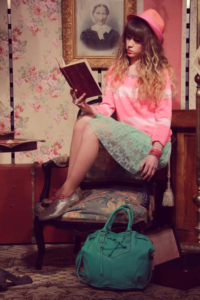 aquamarine Molly Bracken dress - tan shoes - bubble gum scotch and soda hat