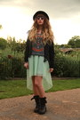 Dark-gray-all-saints-boots-aquamarine-bershka-dress-black-jack-jones-hat