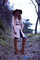 nude maison scotch dress - tawny Zara boots - blue salsa jeans