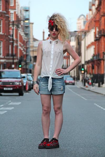 red new look flats - blue Zara shorts - black Topshop sunglasses - white DIY top