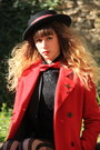 Black-molly-bracken-dress-black-vintage-hat-red-maison-scotch-jacket
