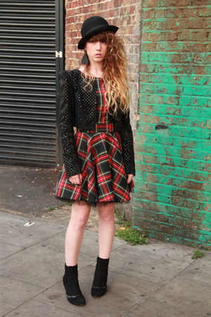 black Only One jacket - red River Island dress - black jack &amp; jones hat