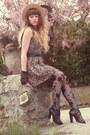 Army-green-nishe-dress-tan-vintage-hat-black-asos-tights