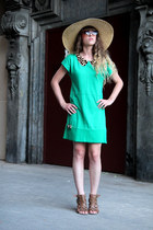 beige kling hat - green zara  DIY dress - brown andré heels
