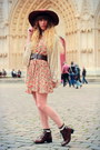 Black-vintage-shoes-tan-choies-dress-brown-american-apparel-hat
