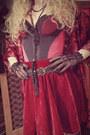Ruby-red-chicnova-skirt-black-vintage-belt-black-lollipops-heels