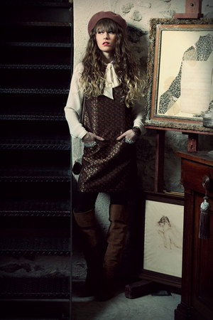 brown Topshop dress - tawny Zara boots - ivory Topshop top