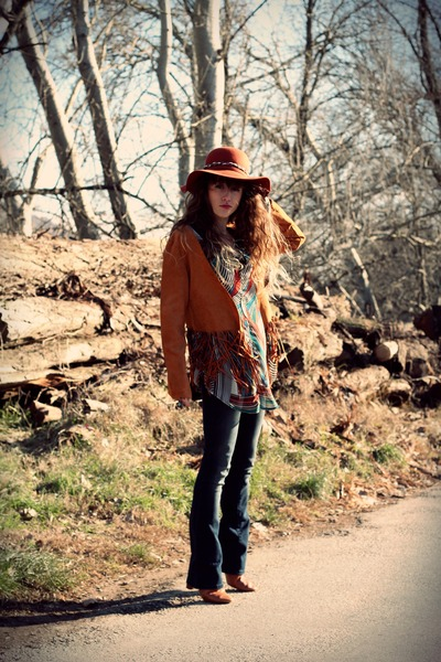 tawny Topshop boots - navy Vila jeans - tawny American Apparel hat