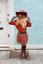 carrot orange Urban Outfitters hat - brown Primark boots - silver H&M shirt