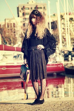 black vintage shoes - black pieces tights - bubble gum Urban Outfitters bag