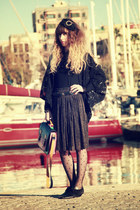 black vintage shoes - black pieces tights - bubble gum Urban Outfitters bag