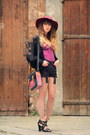 Maroon-zara-hat-black-vero-moda-jacket-black-topshop-shorts