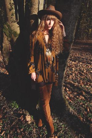 bronze asos boots - gold free people dress - brown asos hat