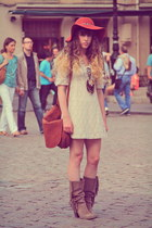 brown vintage bag - light brown méliné boots - ivory Molly Bracken dress