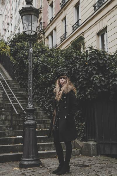 black vintage boots - black free people dress - black fallen broken street hat