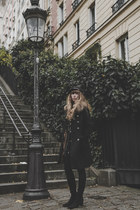 black vintage boots - black free people dress - black fallen broken street hat