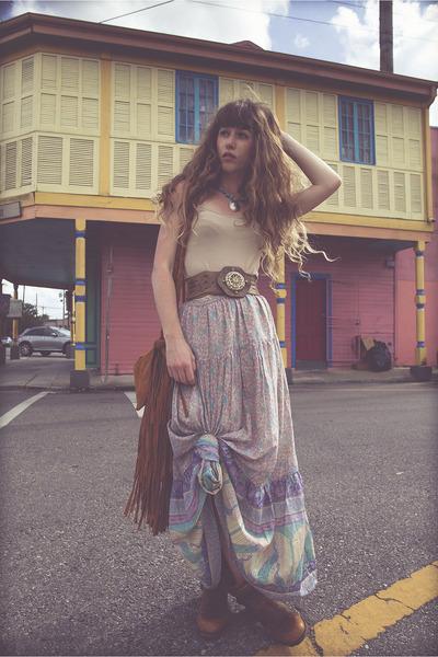 sky blue Spell Designs skirt - tawny Air Step boots - tawny the boho bazaar bag
