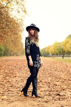 black pepe boots - black Spell Designs dress - black Missguided hat