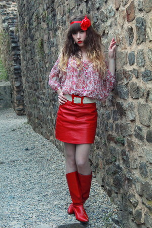red vintage boots - red Pepe Jeans top - red vintage skirt