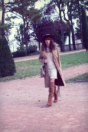 brown Zara boots - ivory Spell Designs dress - tan vintage coat