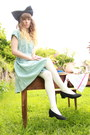 Periwinkle-denim-only-dress-white-primark-tights-navy-denim-diy-accessories