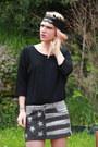 Heather-gray-doll-poupée-skirt-black-american-vintage-top