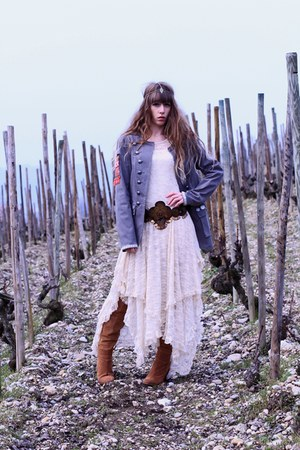 army green Doll Poupée jacket - bronze Zara boots - ivory free people dress