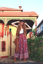 tawny free people boots - tawny Etsy sunglasses - ruby red Spell Designs skirt