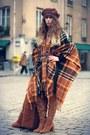 Brown-zara-boots-brown-unknown-hat-burnt-orange-topshop-cape