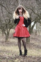 black Vero Moda jacket - red Nishe dress - black pieces tights