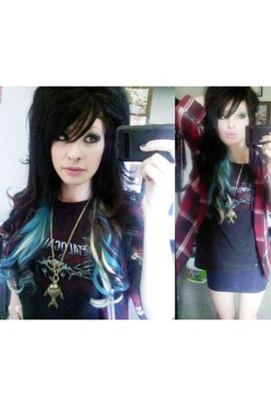 red jacket - black metalocalypse shirt - blue Forever21 skirt - gold Forever21 n