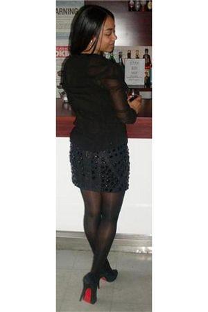 black unknown blouse - black unknown skirt - black CL shoes