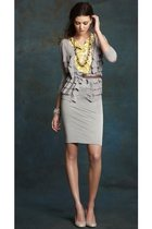 silver ann taylor cardigan - silver ann taylor skirt - gold ann taylor blouse