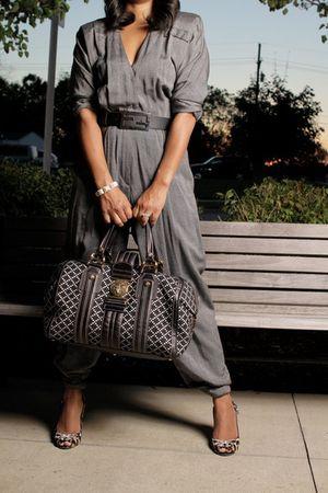 gray vintage jumper - black Gucci bag - black Fendi belt - brown shoes