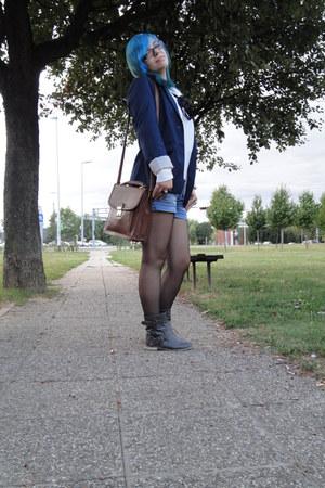 united colors of benetton shirt - Bershka boots - blue H&M blazer