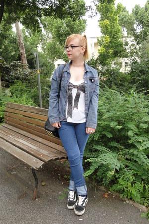 denim Ovs Industry jeans - denim jacket Amadeus jacket - studded bag Ebay bag