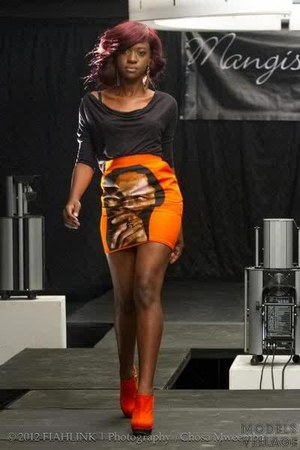 orange mangishi love skirt - black mangishi love top - orange heels
