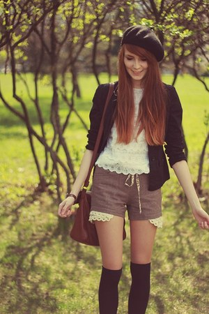 charcoal gray lace Zara shorts - black H&M hat - black H&M socks